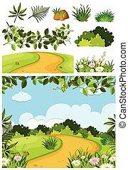 Nature landscape of park with dirt road illustration