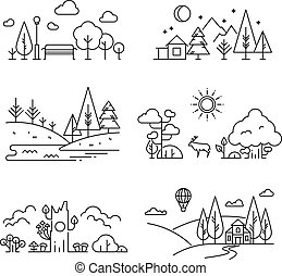 Nature landscape outline icons with tree, plants, mountains,...
