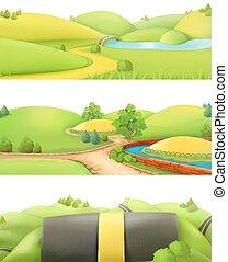 Nature landscape. Park and outdoor. Cartoon game background. 3d set