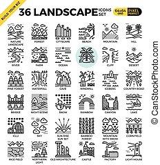 Nature landscape pixel perfect outline icons