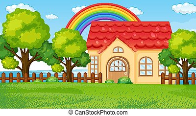 Nature landscape scene with a house and rainbow in the sky