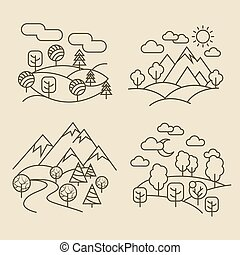 Nature landscape thin line icons. Forest and valley...