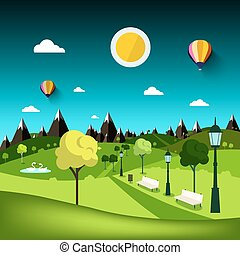 Nature Landscape. Vector Park Cartoon with Mountains on Background.