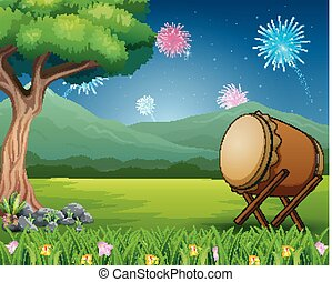 Nature landscape with a drum and fireworks in the sky