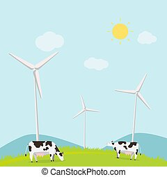 Nature landscape with cows and turbine wind vector illustration. Animal with meadow and mountains in summer. Rural scene ecology concept