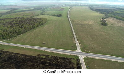 Nature landscape with crossroad aerial video