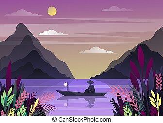 Nature landscape with fisherman - Fisherman at lake at dawn...