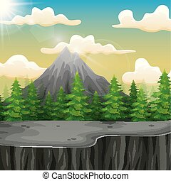 Nature landscape with mountain and the cliff