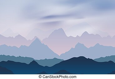 Nature landscape with mountain peaks