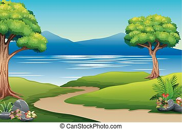 Nature landscape with river and mountain
