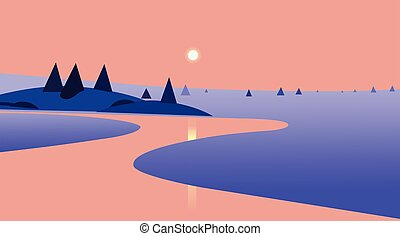 Nature landscape with sunset and reflection on river design. Vector illustration. Beautiful scene of nature.