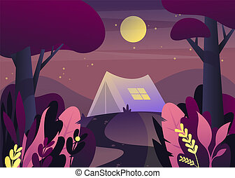 Nature landscape with tent - Forest with tent at night....