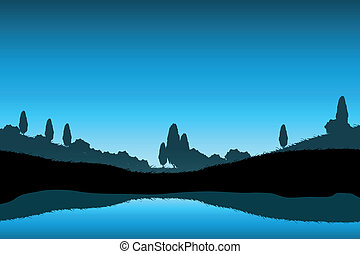 Nature Landscape with Trees Silhouette