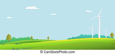 Nature landscape with turbine wind in summer. Vector illustration. Green field with sky background. Eco nature scene