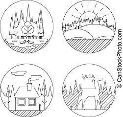 Nature Landscapes Logo Outdoor Life Symbol Lake Forest House Deer Duck Icons Isolated Vector Illustration