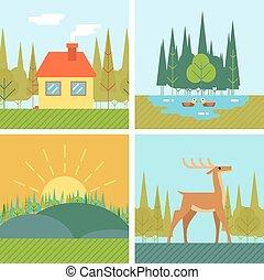 Nature Landscapes Outdoor Life Symbol Lake Forest House Deer Duck Line Icons Flat Design Vector Illustration