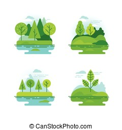 Nature landscapes with green trees