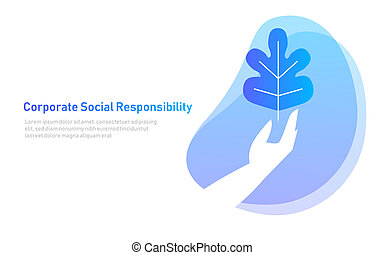 nature leaf on hand. symbol concept of corporate social responsibility. care environment organic. illustration