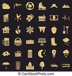 Nature life icons set, simple style