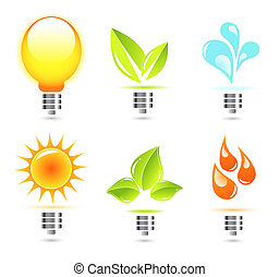 Nature light bulb icon - Abstract green nature eco concept