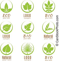 Nature logo set or ecology labels with green leaves isolated on white background.