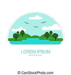 Nature logo vector with puddle, trees, clouds and flying birds.