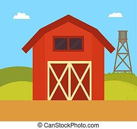 nature, maison ferme, illustration, vecteur, paysage