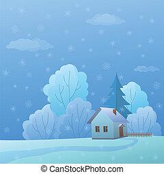nature, maison, hiver, jour