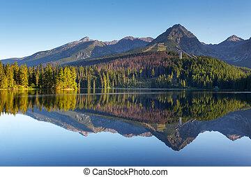 nature, montagne, scène, à, beau, lac, dans, slovaquie, tatra, -, strbske, pleso