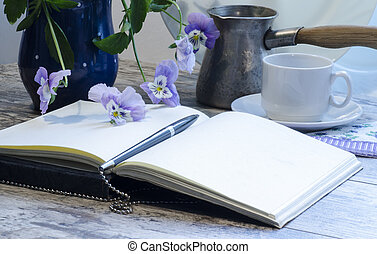 nature morte, à, a, cahier, et, stylo