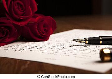 nature morte, de, a, stylo fontaine, papier, et, fleurs, roses