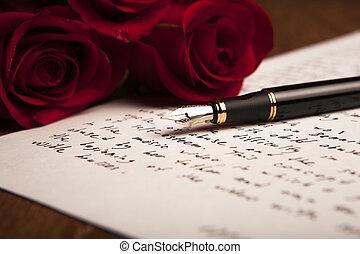 nature morte, de, a, stylo fontaine, papier, et, fleurs,...