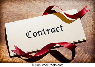 nature morte, de, contrat, document, sur, bureau bois