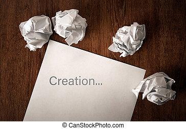 nature morte, de, papier, et, a, papier chiffonné, sur, a, table, à, une, inscription, création