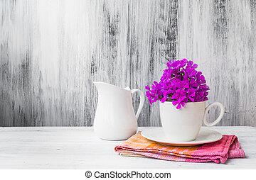 nature morte, fleurs, porcelaine, blanc