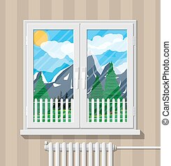 Nature mountain landscape behind window