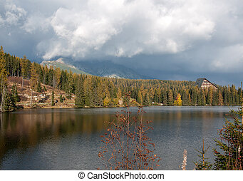 Nature mountain scene with beautiful lake in Slovakia Tatra - Strbske pleso