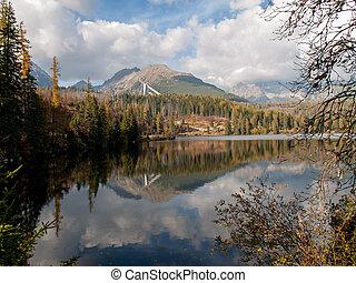 Nature mountain scene with beautiful lake in Slovakia Tatra - Strbske pleso