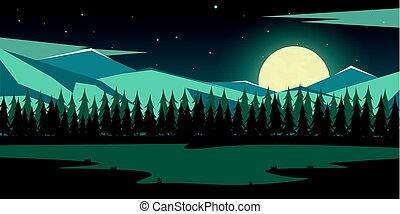 Nature mountains landscape. Moonlight. Rocky mountains and...