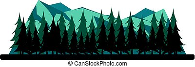 Nature mountains landscape. Rocky mountains and pine forest....