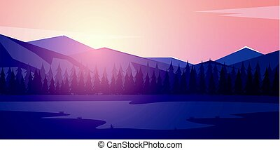Nature mountains landscape. Sunset or dawn sun over the...
