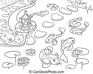 Nature of Japan coloring book for children cartoon. Japanese garden vector illustration