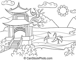 Nature of Japan coloring book for children cartoon vector illustration