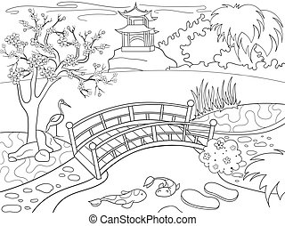Nature of Japan coloring book for children cartoon. Japanese...