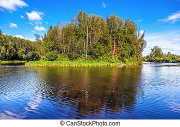 Nature of Siberia in the summer sunny day