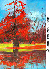 nature painting as background