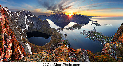 Nature panorama mountain landscape at sunset, Norway.
