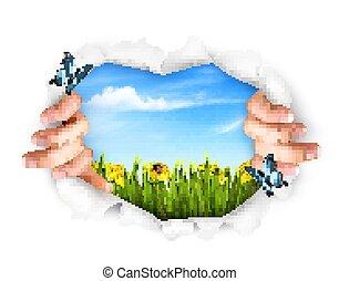 nature, paper., vecteur, fond, mains, déchirer