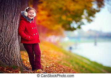 nature, parc, automne, girl, apprécie, heureux