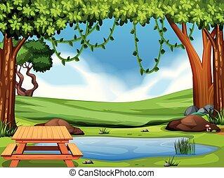 nature, parc, vue